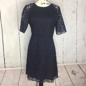 Madewell Fit And Flare Lace Lined Dress in Navy